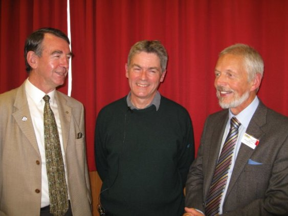 Mike Duguid, Dr David Devereux and Stewartry U3A Chairman, Dr Howard Brown at the September Monthly Meeting